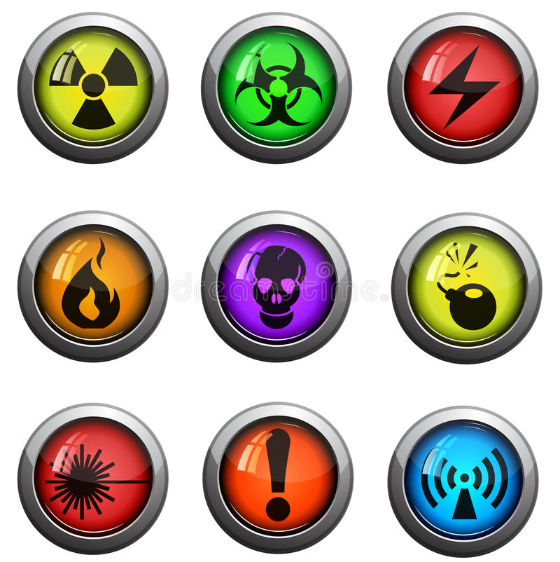 Iconos del peligro fijados stock de ilustración