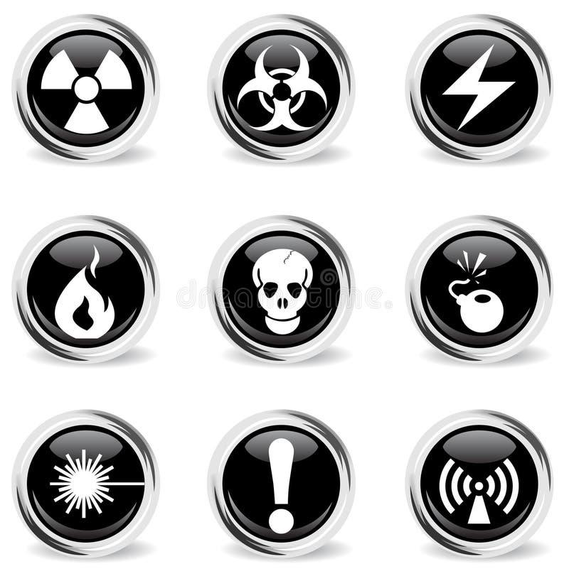 Iconos del peligro fijados libre illustration