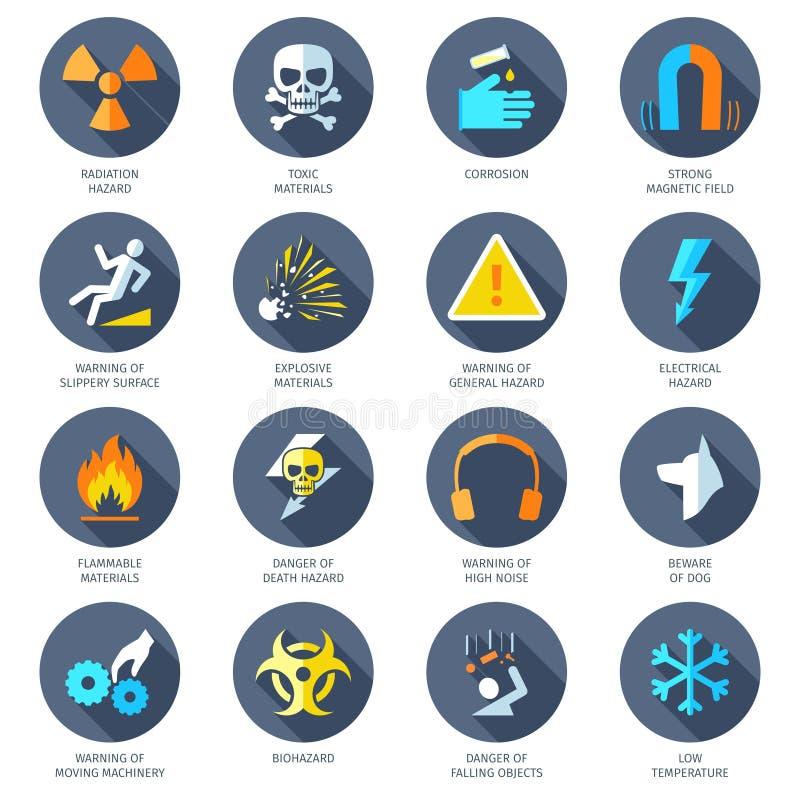 Iconos del peligro planos libre illustration