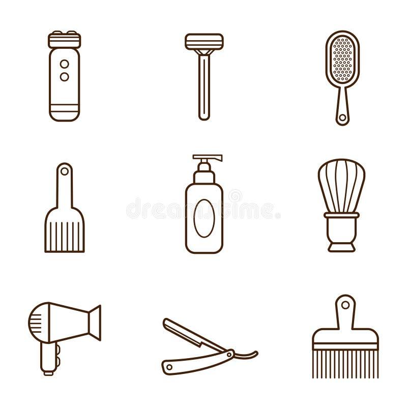 Iconos del peluquero stock de ilustración