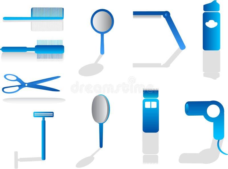 Iconos del peluquero ilustración del vector