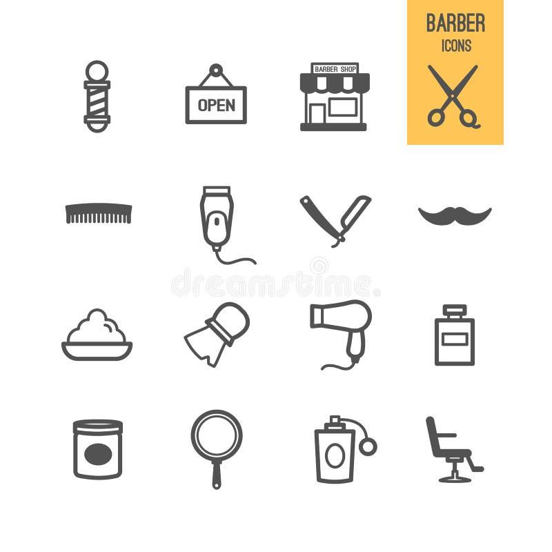 Iconos del peluquero fijados libre illustration