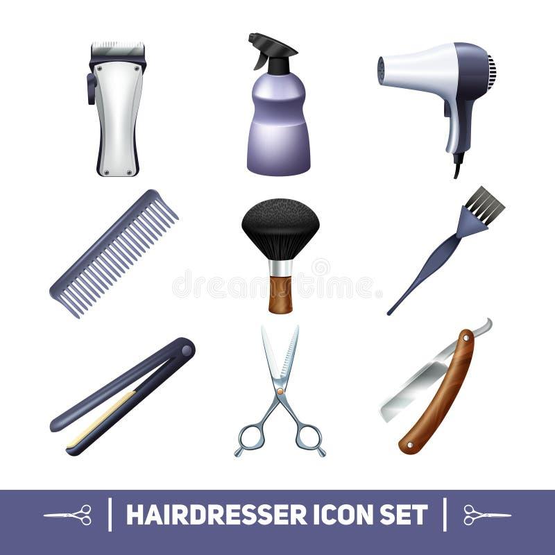 Iconos del peluquero fijados stock de ilustración