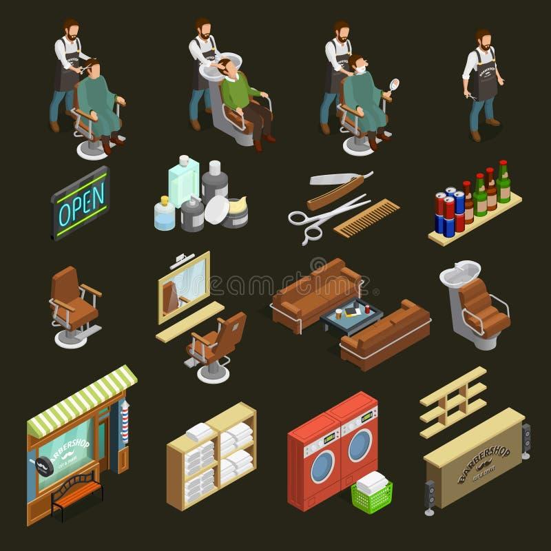 Iconos del peluquero fijados ilustración del vector