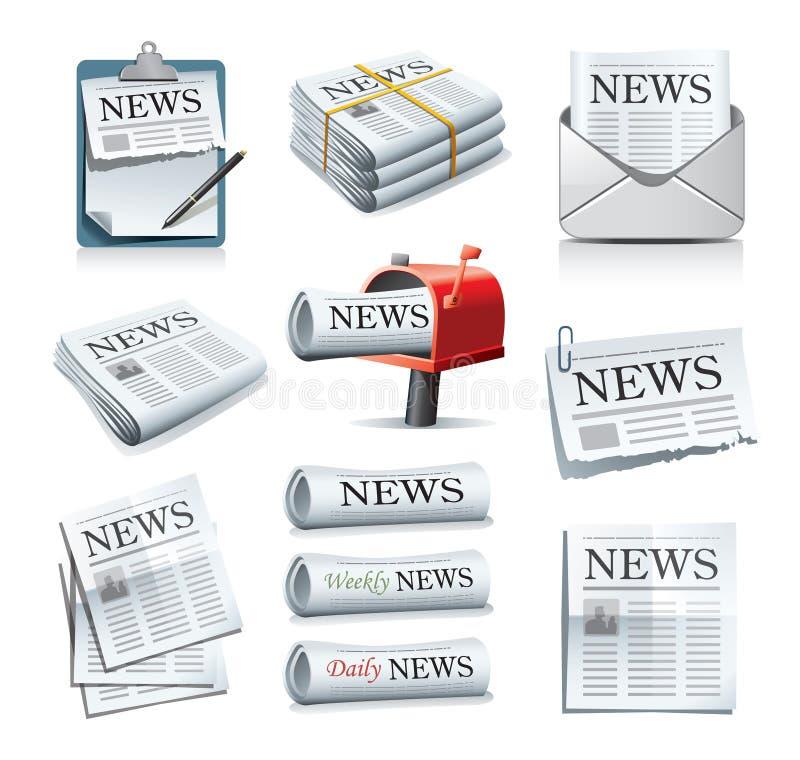 Iconos del periódico stock de ilustración