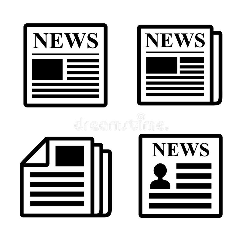 Iconos del periódico fijados. ilustración del vector