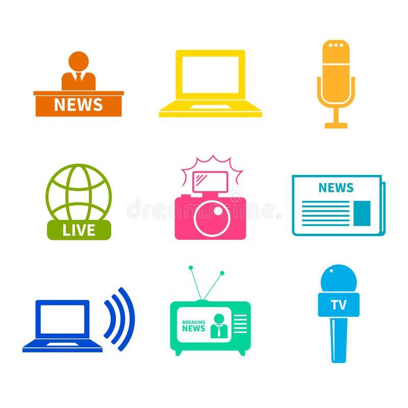 Iconos del periodismo fijados ilustración del vector