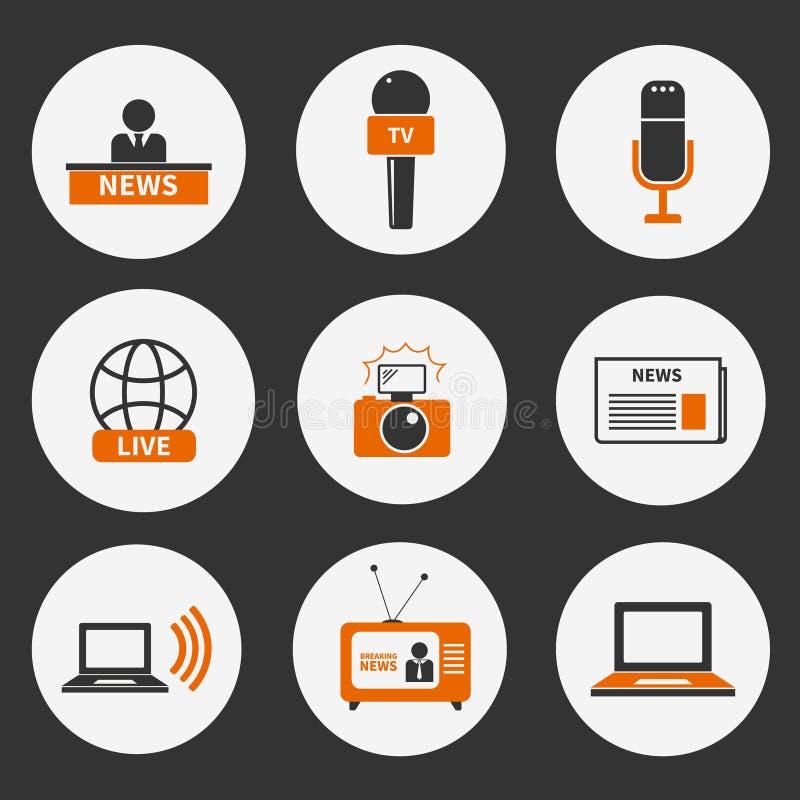 Iconos del periodismo fijados stock de ilustración