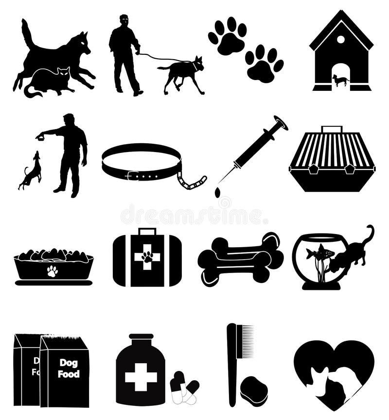 Iconos del perro casero fijados stock de ilustración