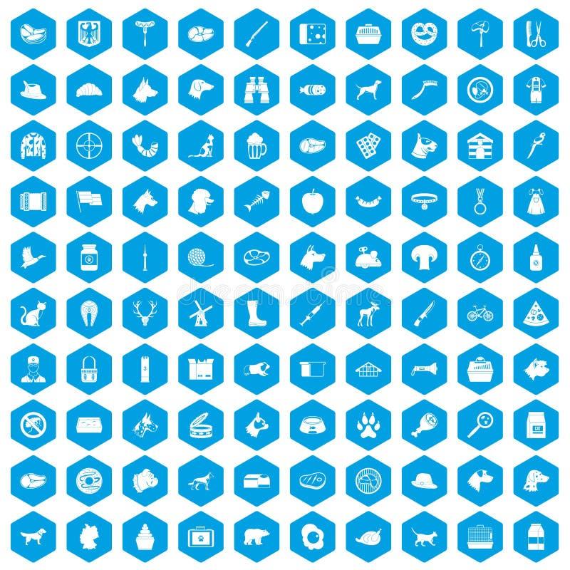 100 iconos del perro fijados azules ilustración del vector