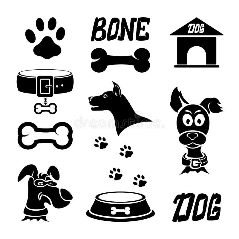 Iconos del perro negro stock de ilustración