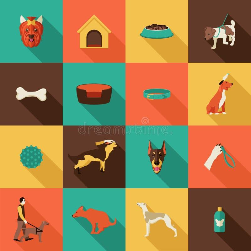 Iconos del perro planos stock de ilustración