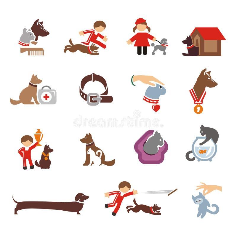 Iconos del perro y del gato fijados stock de ilustración