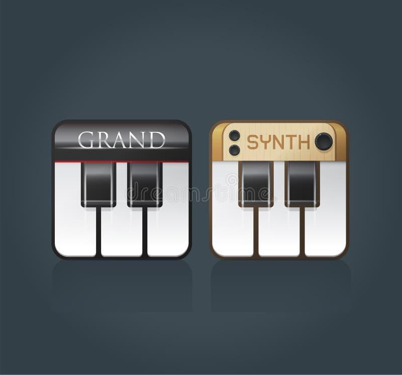 Iconos del piano del vector para el software de la música stock de ilustración