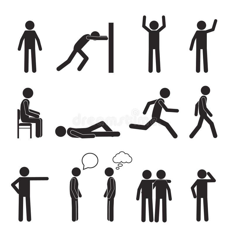 Iconos del pictograma de la postura del hombre fijados Acción del cuerpo humano libre illustration
