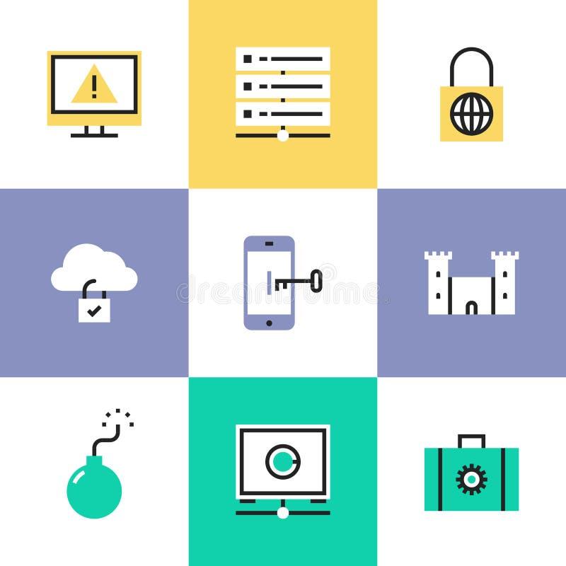 Iconos del pictograma de la seguridad de la nube fijados ilustración del vector
