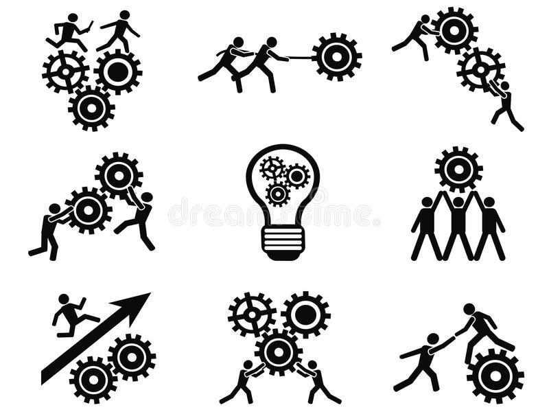 Iconos del pictograma de los engranajes del trabajo en equipo de los hombres fijados libre illustration