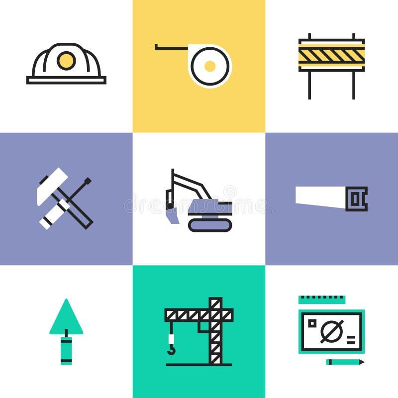 Iconos del pictograma del sector de la construcción fijados libre illustration
