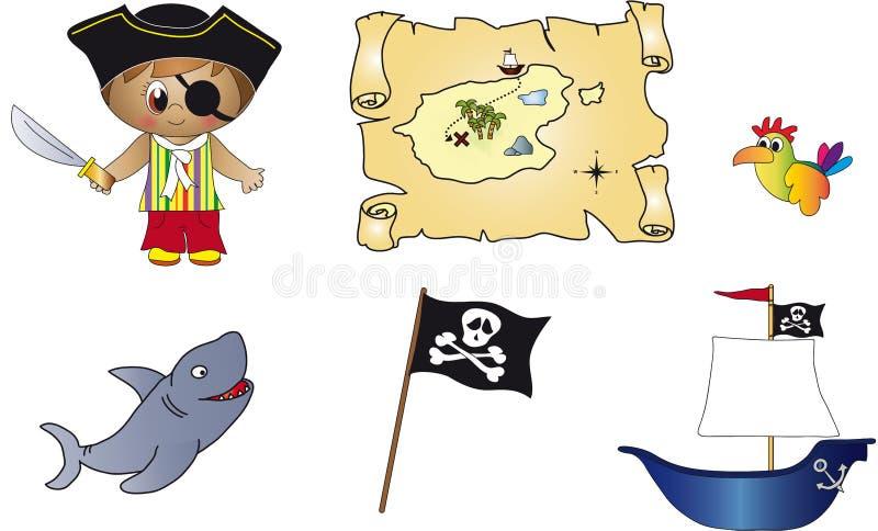 Iconos del pirata ilustración del vector
