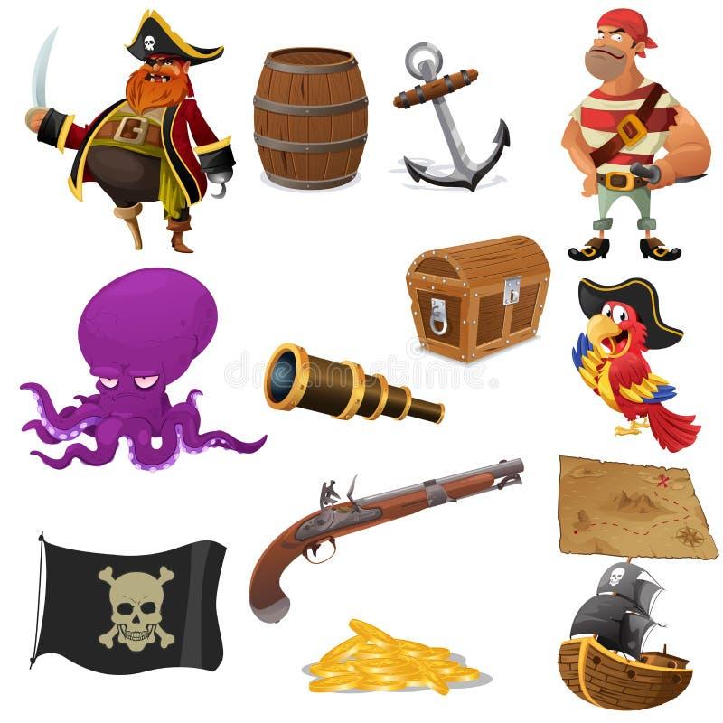 Iconos del pirata stock de ilustración