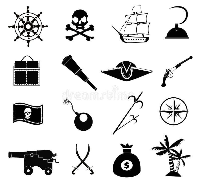Iconos del pirata fijados ilustración del vector