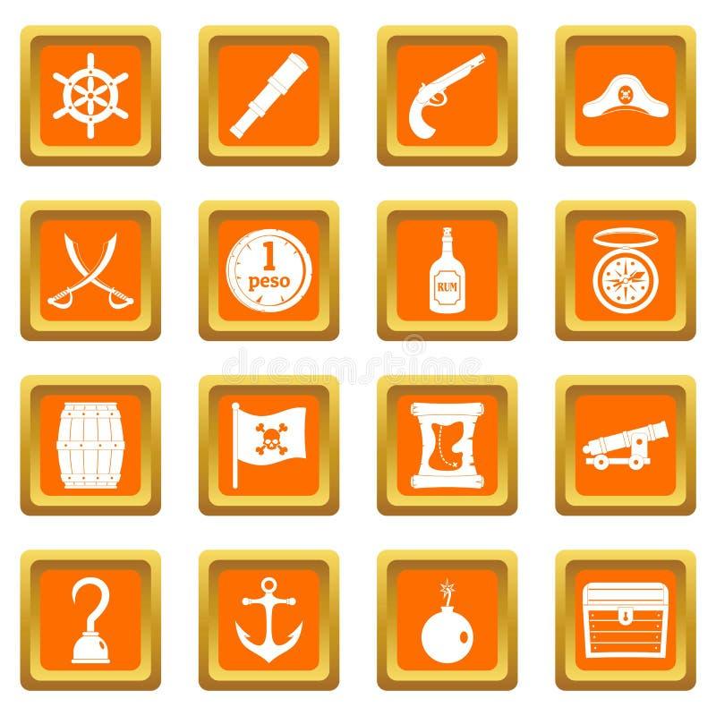 Iconos del pirata fijados anaranjados libre illustration