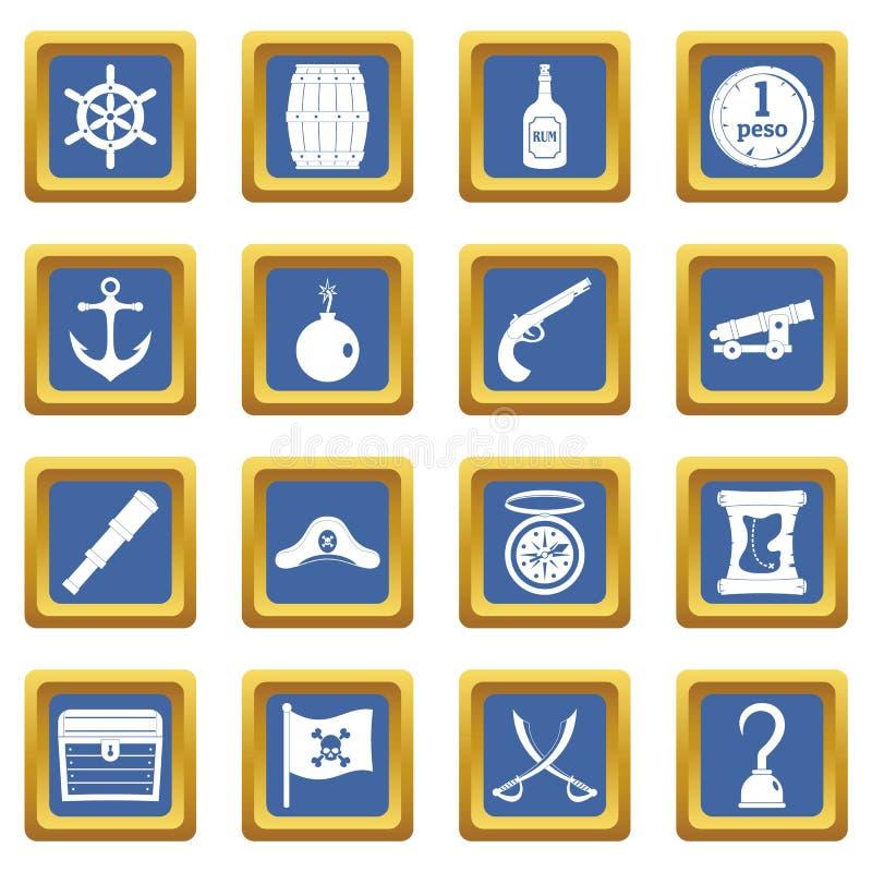 Iconos del pirata fijados azules ilustración del vector