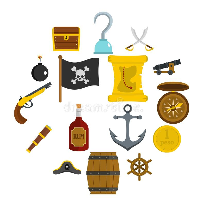 Iconos del pirata fijados en estilo plano stock de ilustración