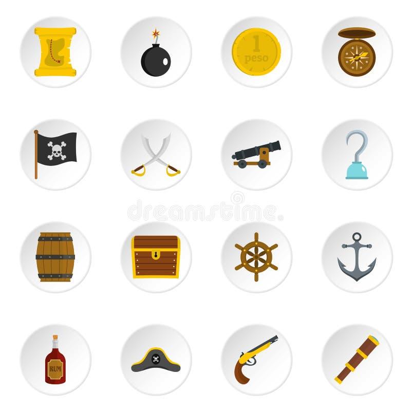 Iconos del pirata fijados en estilo plano ilustración del vector