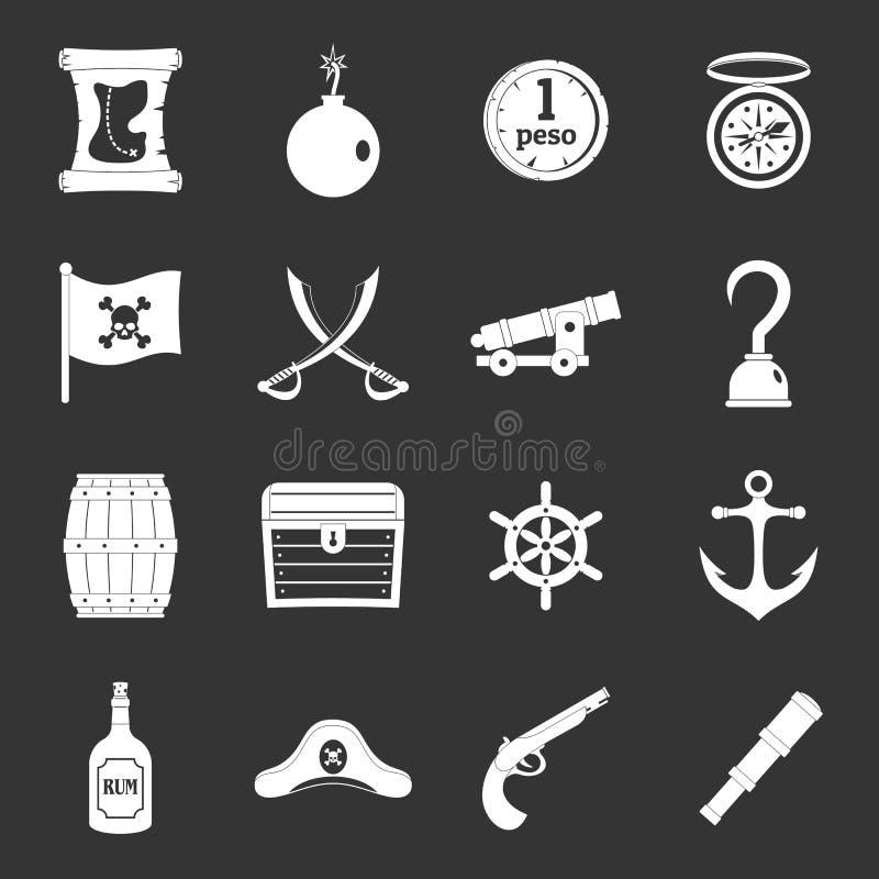 Iconos del pirata fijados grises ilustración del vector