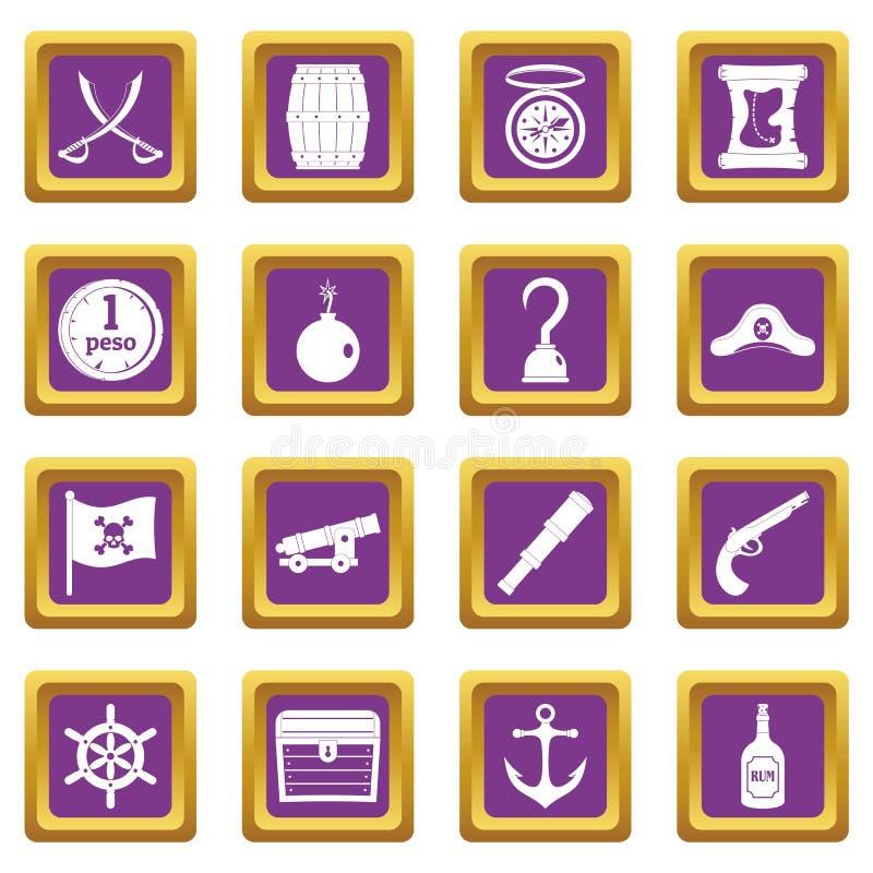 Iconos del pirata fijados púrpuras stock de ilustración