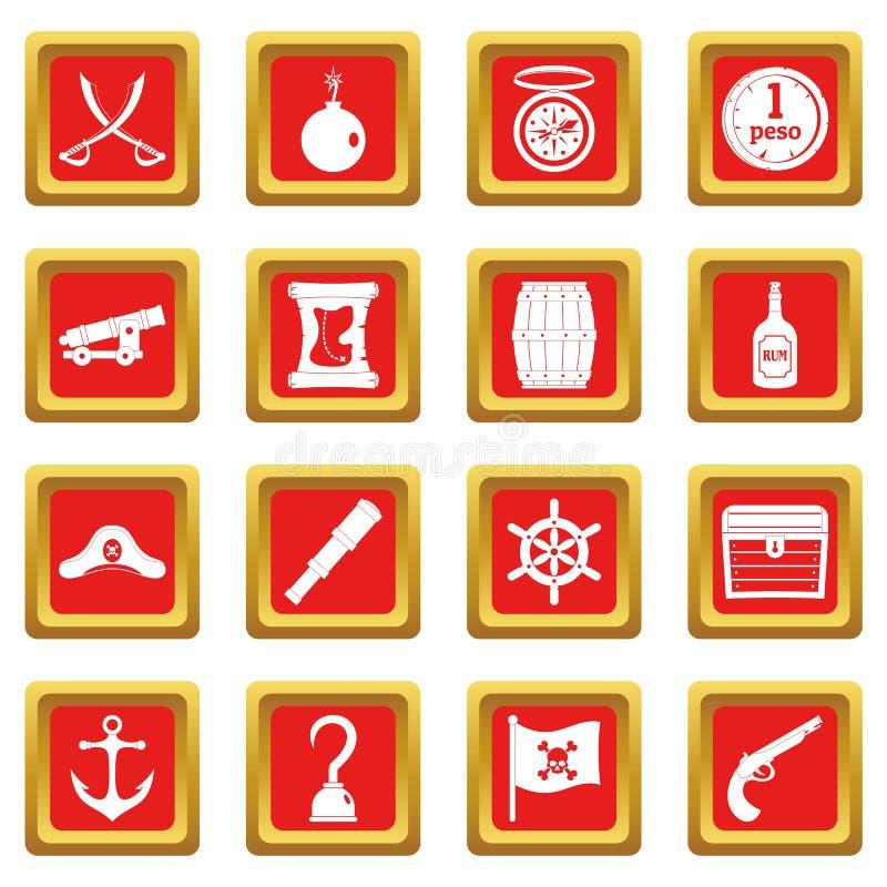 Iconos del pirata fijados rojos stock de ilustración