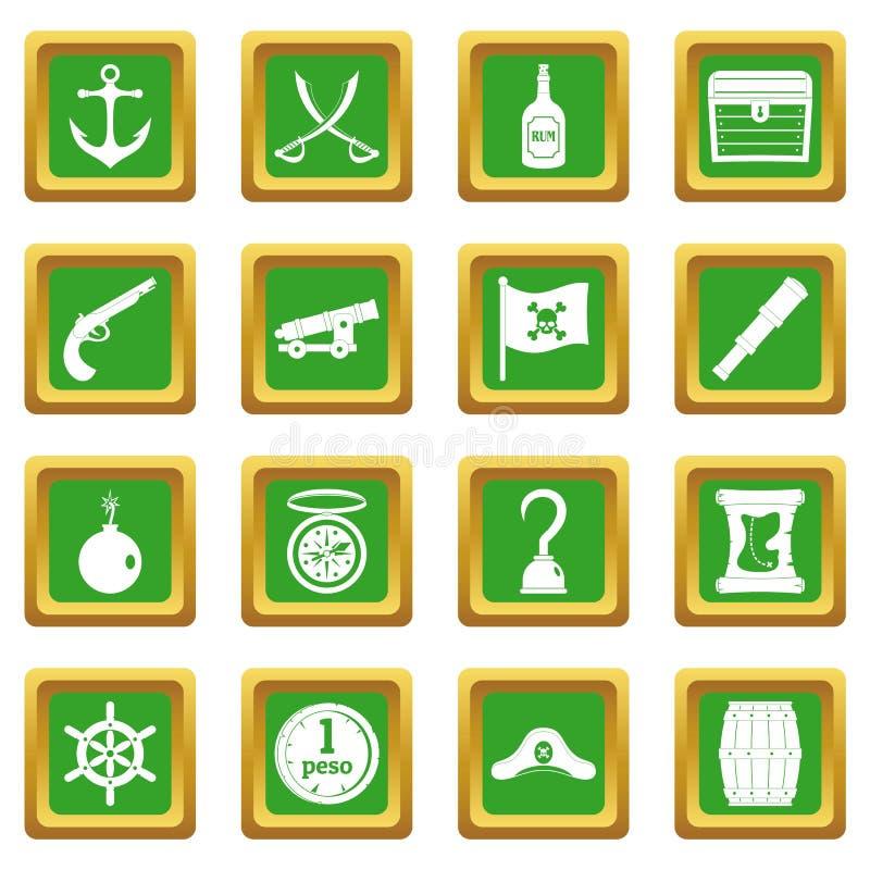 Iconos del pirata fijados verdes ilustración del vector