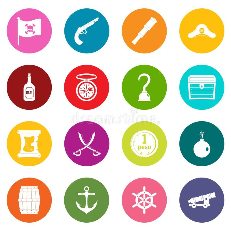 Iconos del pirata sistema de muchos colores stock de ilustración