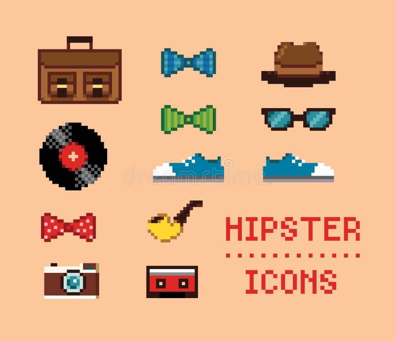 Iconos del pixel del vintage del inconformista libre illustration