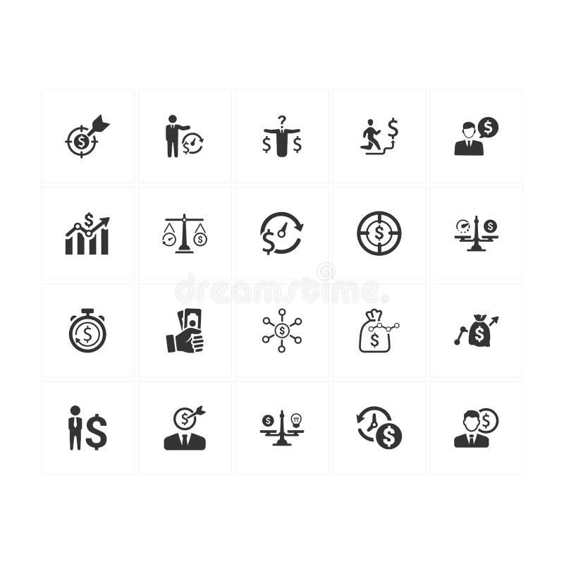 Iconos del plan del presupuesto - Gray Version ilustración del vector