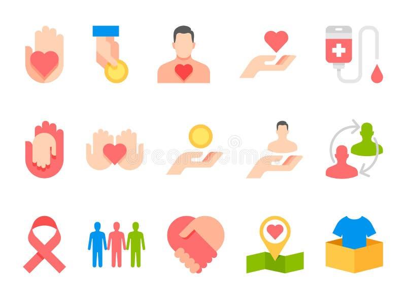 Iconos del plano de servicios sociales de la donación de la caridad fijados libre illustration