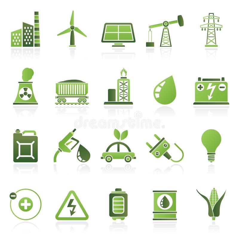 Iconos del poder, de la energía y de la fuente de la electricidad stock de ilustración