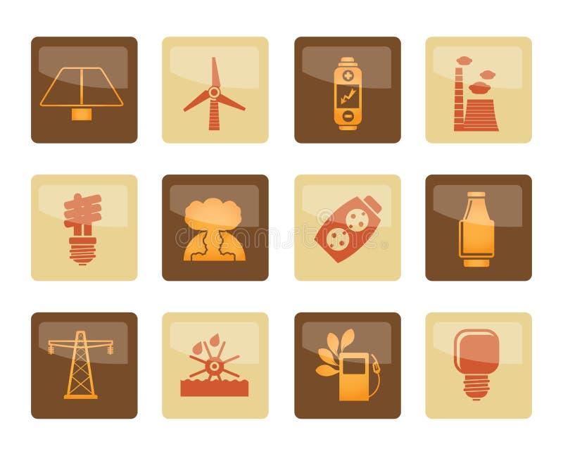 Iconos del poder, de la energía y de la electricidad sobre fondo marrón ilustración del vector