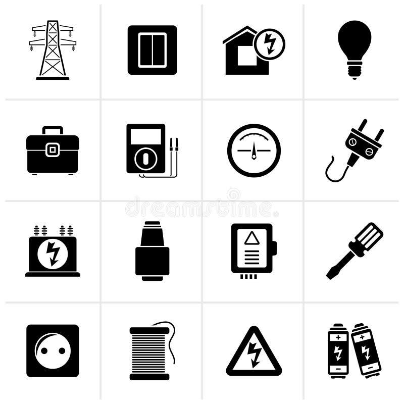 Iconos del poder negro, de la energía y de la electricidad ilustración del vector
