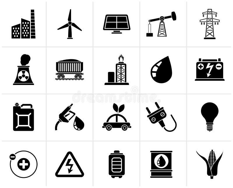Iconos del poder negro, de la energía y de la fuente de la electricidad stock de ilustración