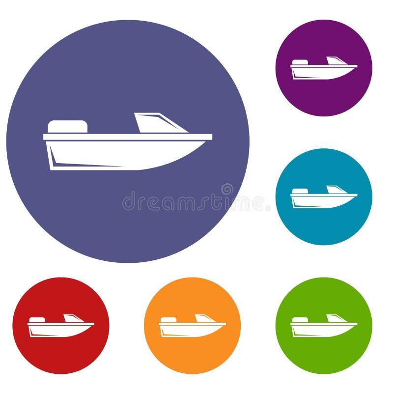 Iconos del powerboat de los deportes fijados libre illustration