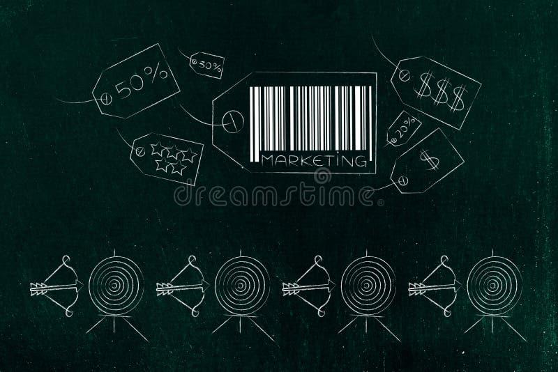 Iconos del precio del márketing con la línea de blancos y de flechas abajo stock de ilustración