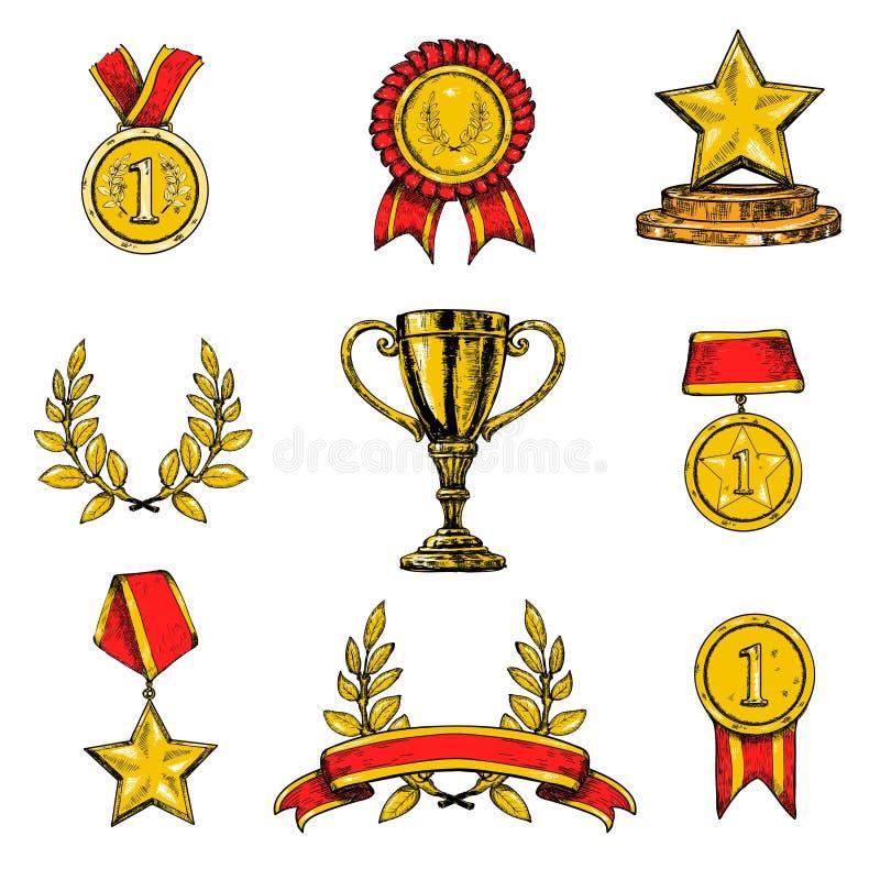 Iconos del premio fijados coloreados stock de ilustración