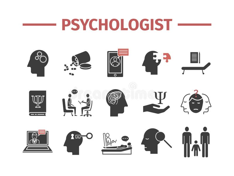 Iconos del psicólogo fijados infographics conceptual Asesoramiento de la psicología Muestra del vector para los gráficos del web stock de ilustración
