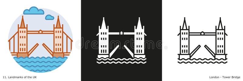 Iconos del puente de la torre stock de ilustración