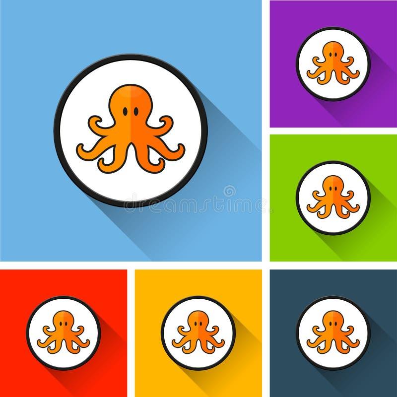Iconos del pulpo con la sombra larga stock de ilustración