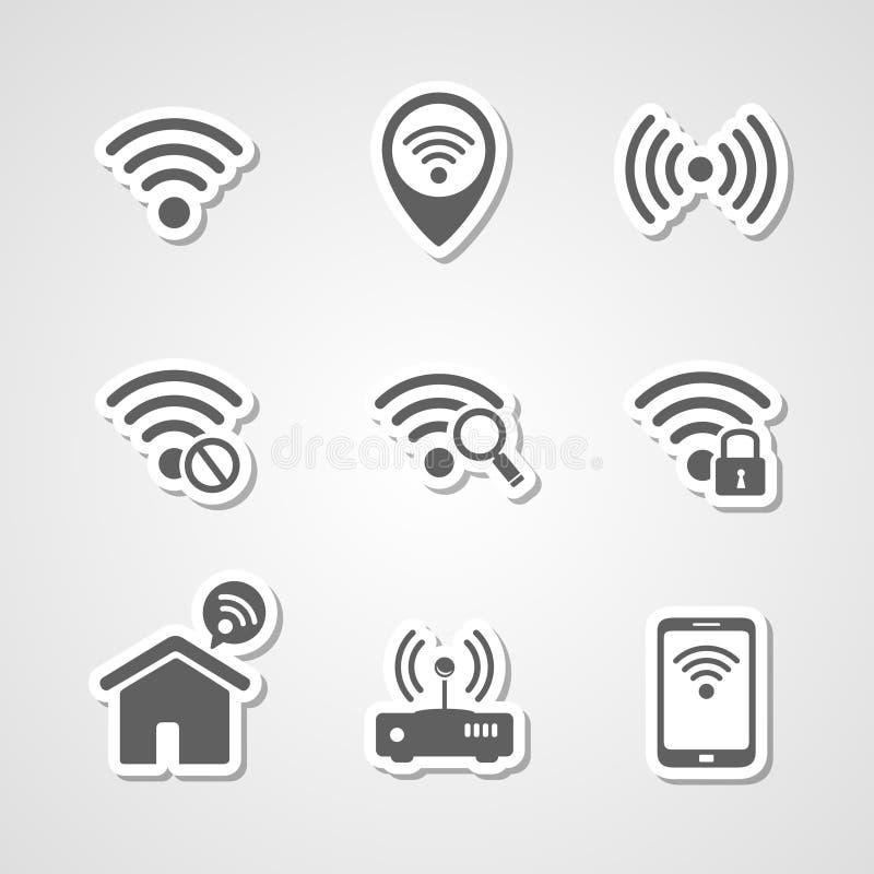 Iconos del punto de acceso a internet de la red local de la radio ilustración del vector