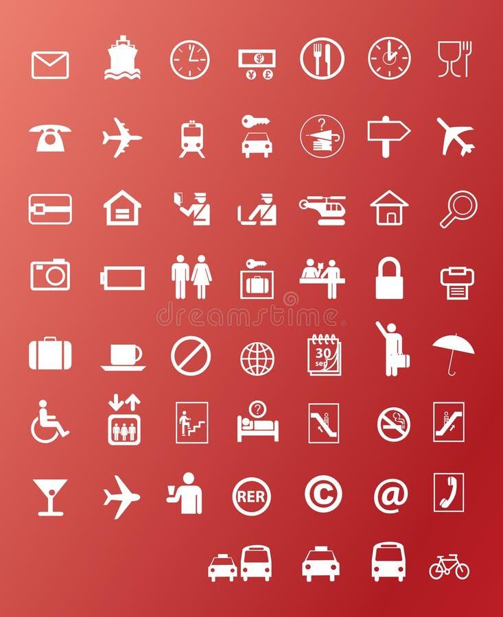 Iconos del viaje stock de ilustración