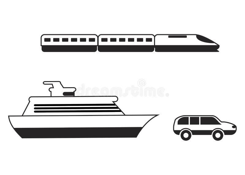 Iconos del recorrido App móvil, impresión, icono del sitio web Elementos simples El tren, la nave y el coche monocromáticos vecto libre illustration